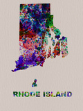 Rhode Island Color Splatter Map Plastic Sign by  NaxArt