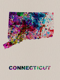 Connecticut Color Splatter Map Plastic Sign by  NaxArt