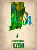 Rhode Island Watercolor Map Plastic Sign by  NaxArt