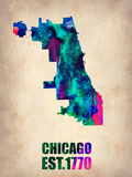Chicago Watercolor Map Plastic Sign by  NaxArt