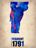 Vermont Watercolor Map Plastic Sign by  NaxArt