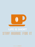 Coffee Poster Orange Plastic Sign by  NaxArt
