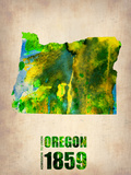 Oregon Watercolor Map Plastic Sign by  NaxArt