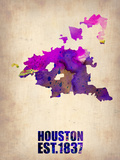 Huston Watercolor Map Plastic Sign by  NaxArt