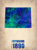 Wyoming Watercolor Map Plastic Sign by  NaxArt