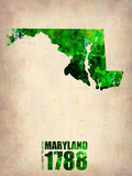 Maryland Watercolor Map Plastic Sign by  NaxArt
