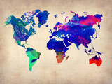World Watercolor Map 2 Plastic Sign by  NaxArt