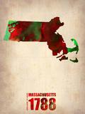 Massachusetts Watercolor Map Plastic Sign by  NaxArt