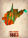 West Virginia Watercolor Map Plastic Sign by  NaxArt