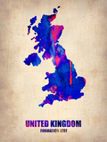United Kingdom Watercolor Map Plastic Sign by  NaxArt