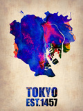 Tokyo Watercolor Map 1 Plastic Sign by  NaxArt