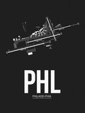 PHL Philadelphia Airport Black Plastic Sign by  NaxArt
