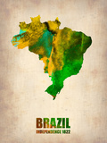 Brazil Watercolor Map Plastic Sign by  NaxArt