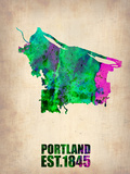 Portland Watercolor Map Plastic Sign by  NaxArt