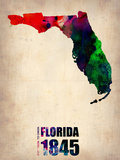Florida Watercolor Map Plastic Sign by  NaxArt