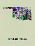 Oklahoma Color Splatter Map Plastic Sign by  NaxArt