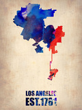 Los Angeles Watercolor Map 1 Plastic Sign by  NaxArt