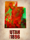 Utah Watercolor Map Plastic Sign by  NaxArt