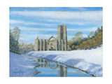 Winter Morning - Fountains Abbey Yorkshire Print by Richard Harpum