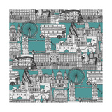 London Toile Blue Plakater af Sharon Turner