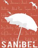 White Umbrella onCoral Sanibel Giclee Print by  Graffi*tee Studios