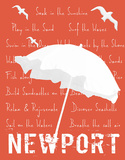 White Umbrella on Coral Newport Giclee Print by  Graffi*tee Studios