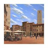 Piazza Della Cisterna San Gimignano Tuscany Posters by Richard Harpum
