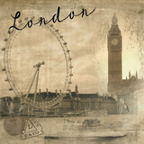 London Vintage Giclee Print by  Graffi*tee Studios