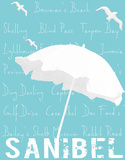White Umbrella on Aqua Sanibel Giclee Print by  Graffi*tee Studios