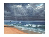 Raw - Storm over Lindisfarne Print by Richard Harpum