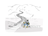Hitch Hiking Robot - Cartoon Premium Giclee Print by Kaamran Hafeez