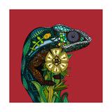 Chameleon Red Kunstdrucke von Sharon Turner