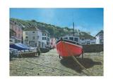 The Red Boat Polperro Cornwall Plakaty autor Richard Harpum