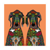 Great Dane Love Tangerine Posters by Sharon Turner
