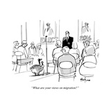 """""""What are your views on migration"""" - Cartoon Premium Giclee Print by Kaamran Hafeez"""