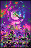 Opticz It'S 4:20 Somewhere Blacklight Poster Print by Joseph Charron
