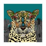 Leopard Queen Teal Schilderij van Sharon Turner