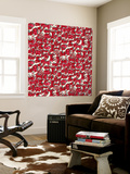 Chinese Animals Red Wall Mural by Sharon Turner