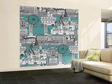 London Toile Blue Wall Mural – Large by Sharon Turner