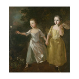 The Painter's Daughters Chasing a Butterfly, C.1759 Giclee Print by Thomas Gainsborough