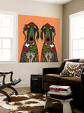 Great Dane Love Tangerine Wall Mural by Sharon Turner