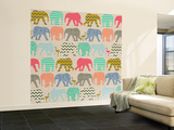 Baby Elephants and Flamingos Wall Mural – Large by Sharon Turner