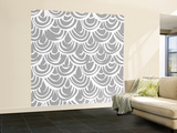 Monochrome Scallop Scales Wall Mural – Large by Sharon Turner