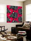 Rhinoceros Red Wall Mural by Sharon Turner