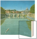 Rowing on the Tiber Rome Wood Sign by Richard Harpum