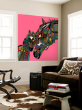 Horse Love Pink Wall Mural by Sharon Turner