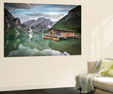 Braies Lake Boats Wall Mural by Marco Carmassi