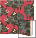 Rhinoceros Red Wood Print by Sharon Turner