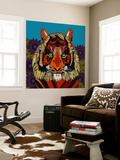 Tiger Chief Blue Wall Mural by Sharon Turner