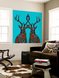 Poinsettia Deer Blue Wall Mural by Sharon Turner